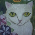 White Cat Petunias &amp; Pansies by sharonkfolkart