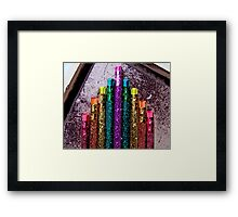Great Poster of Bright Colorful Glittery Pencils Framed Print