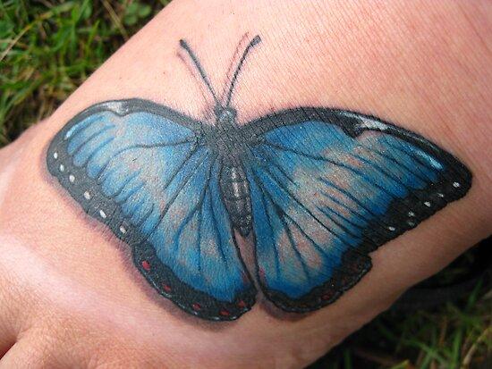 Blue morpho butterfly tattoo - photo#4