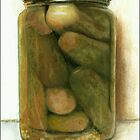 Dill Pickles - still life painting by LindaAppleArt