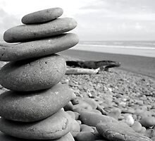 Pebbles Balanced - Black and White by marklincoln