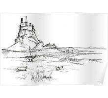 Lindisfarne Castle sketch Poster
