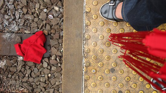 Scarf on train tracks by ell3jay