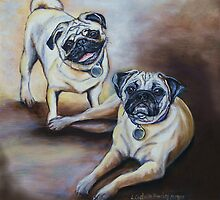 Pug Pair by Linda Costello Hinchey