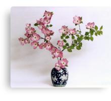 Pink Dogwood in Japanese vase Canvas Print