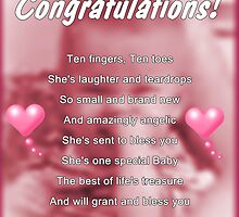 New Baby Girl by Greeting Cards by Tracy DeVore