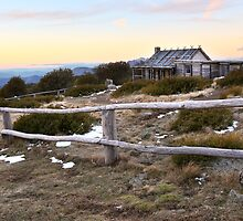 Craig's Hut Winter Evening, Mt Stirling, Australia by Michael Boniwell