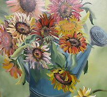 """Sunflowers From My Garden"" in Antique Watering Can by JeffeeArt4u"
