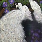 Albino Peacocks by Mikki Alhart