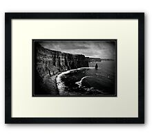 Ireland, Cliffs of Moher, County Clare. B&W treatment. Framed Print