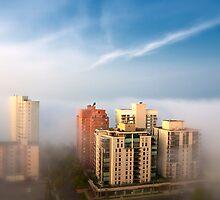 Edmonton in the Fog by Myron Watamaniuk