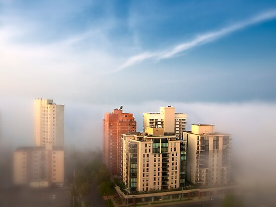 Edmonton in the Fog by Myron Watamaniuk