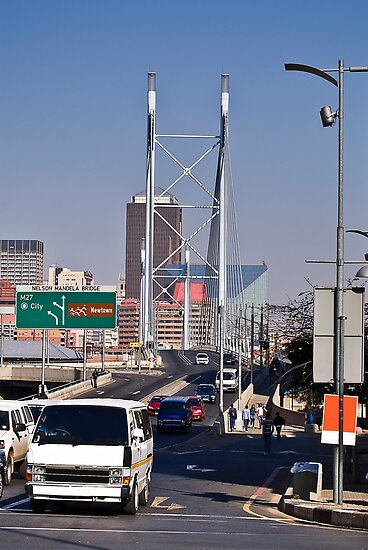 Nelson Mandela Bridge - From Braamfontein by RatManDude