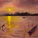Sunset over the Mekong by viaterra-photos