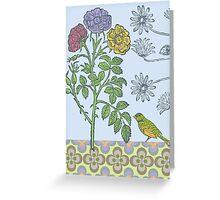 Ornamental Roses & Bird - card Greeting Card