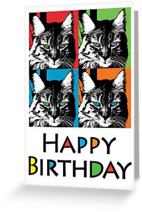 Shadow Cat Birthday  ll - card by Andi Bird