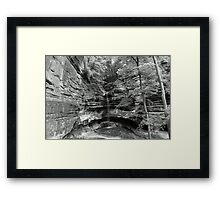 B&W St. Louis canyon Waterfall Framed Print