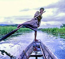 Leg rower, Inle Lake, Burma by John Spies