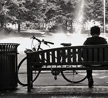 Man and bike in the park...... by Adri  Padmos