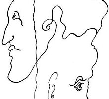 107 - JOINED FACES - DAVE EDWARDS - PEN & INK - c. 1985 by BLYTHART