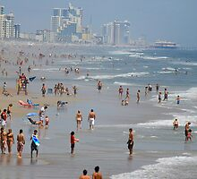 Crowded Day At Florida Beach by Deborah  Benoit