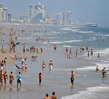 Crowded Day At Florida Beach by Deborah  Benoit