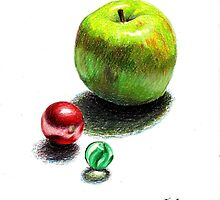Apple and Glass Marbles by robertsloan2