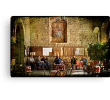 Italian conversation at the café Canvas Print