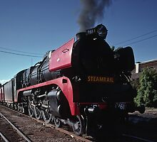 1988 R type steam Locomotive Echuca station by Fred Mitchell