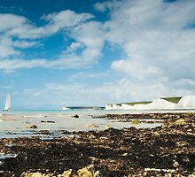 Catamaran at The Seven Sisters from Birling Gap: East Sussex, UK. by DonDavisUK