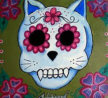 Day of the Dead El Gato Sugar Skull by natashablue
