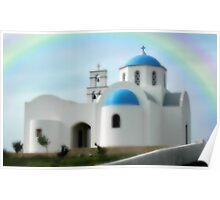 """CLASSICAL GREEK CHURCH""   SANTORINI, GREECE Poster"