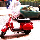 Napoli red vespa by Jouer