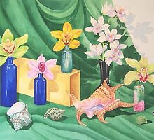 Orchid and Sea Shell Symphony by JANET SUMMERS