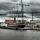 The SS Great Britain and the Mathew docked at  Bristol Harbour. by Clive Lewis-Hopkins.