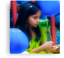 A Girl With Two Blue Balloons Canvas Print