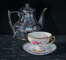 Cup of roses by Freda Surgenor