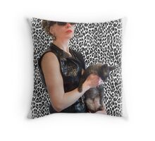 vinyl girl Throw Pillow