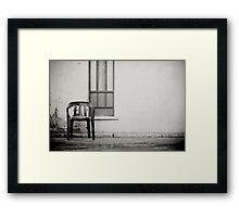 out of shore red chair Framed Print