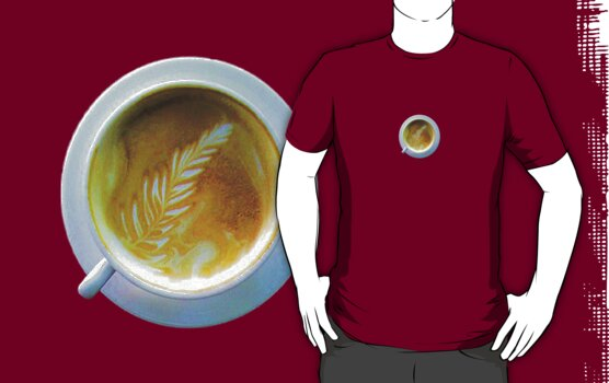 T-Shirt: Latte with leaf by Youbeaut Designs