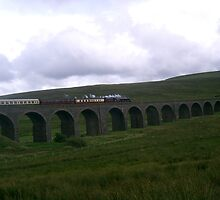 steam train crossing ribblehead viaduct by sueshep