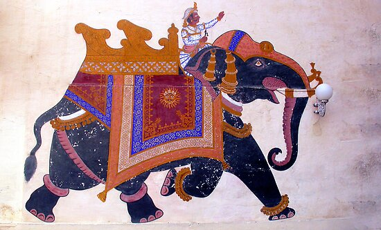 Fresco, City Palace Museum, Udaipur, India by JonathaninBali