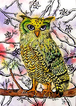 Yellow Owl by stephanie allison