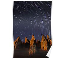 Star Trails At The Pinnacles  Poster