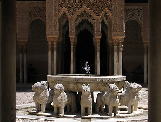 Palace fountain within the Alhambra, Granada, Spain by Linda More