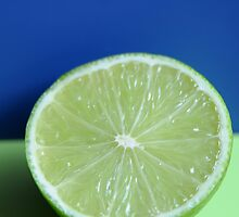 lime half on blue & green by peninsulaphoto