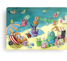 Monster Summer Time on the Beach Metal Print