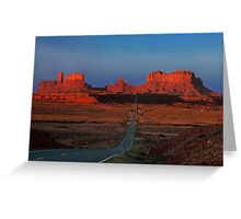 Monument Valley. Road Shot at Sunrise. Arizona. USA Greeting Card