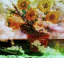 """ Here Comes The Sun ""   Surreal Sunflowers on Table      by Rick  Todaro"