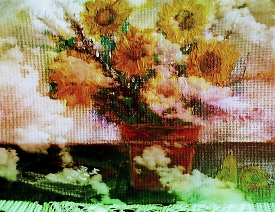 """"""" Here Comes The Sun """"   Surreal Sunflowers on Table      by Rick  Todaro"""